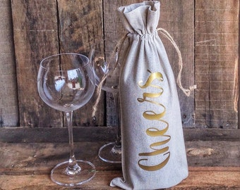 Cheers Wine Bag Wine Tote  Linen Wine Bag Hostess Gift Thank You Gift Shower Gift Christmas Gift Housewarming Gift Wine Bag Gift