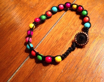 Colorful Beaded Boho Hemp Bracelet