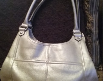 Purse Tignanello Silvery Tooled Leather with Striped Satin Lining
