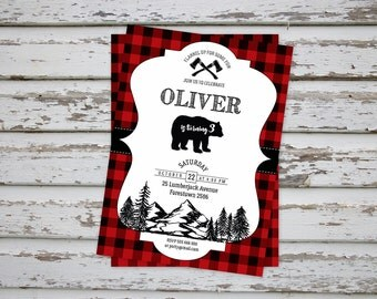Lumberjack invitation, Lumberjack Thank You Card, Lumberjack flannel party, Lumberjack flannel Birthday Invite