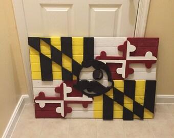 Wood Maryland Flag with Natty Boh man