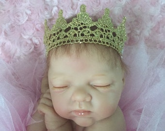 Charlotte Gold Lace Crown Headband, Gold Crown Headband, Lace Crown Headband, Newborn Crown Headband, Photo Prop, Baby Crown Headband