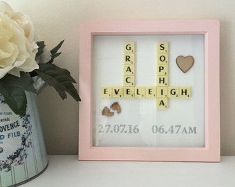 Scrabble Art Picture Frame Gift new baby