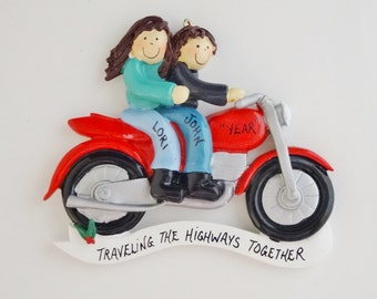 Motorcycle Couple Ornament - Motorcycle Lovers Couple Ornament - Personalized Motorcycle Couple Christmas Ornament