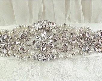 Elegant Design - Pearls-Rhinstones Flower Bridal Belt/Sashes