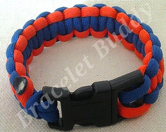 Orange and Blue Bracelet - Two Color Paracord - Awareness Bracelet - Woven Bracelet - Braided Bracelet - Adult Bracelet - Child Bracelet