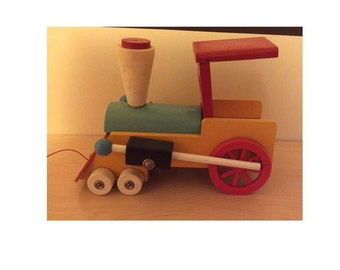 Vintage large wooden pull toy train steam engine