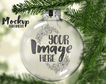 Clear Christmas Ornament Mockup Template | Floating Ornament | Blank Ornament | Glass Ornament | Digital Download | Photography