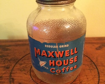 Antique/Vintage Maxwell House Coffee Jar with lid