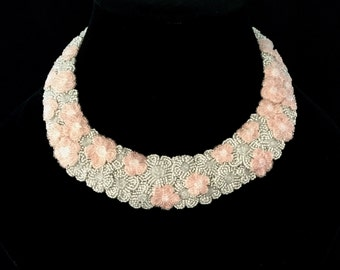 Cherry blossoms, bead embroided neck piece.