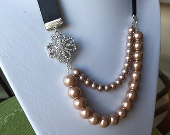 Black and Pink Ribbon and Pearl Necklace