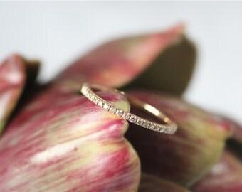 Half Eternity Band 14K Rose Gold Diamond Wedding Band-Engagement Band Wedding Ring Engagement Ring Anniversary Gift For Her