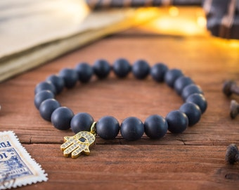 8mm -Matte black onyx beaded stretchy bracelet with micro pave gold Hamsa hand charm, made to order bracelet, mens bracelet, womens bracelet