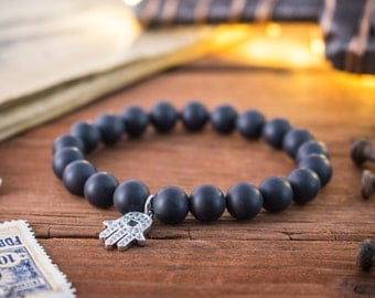 8mm - Matte black onyx beaded stretchy bracelet with micro pave silver Hamsa hand charm, bead bracelet, mens bracelet, womens bracelet
