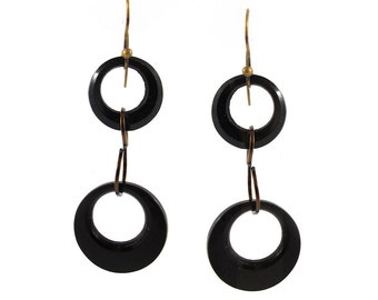 Vintage Black Glass Rings Hook Earrings c. 1960's