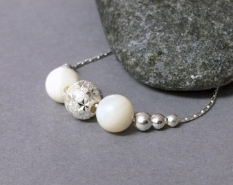 Sterling silver and Mother of Pearl necklace, Dainty everyday white silver necklace, Delicate silver star necklace, Silver ball necklace