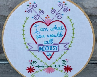 Jim Gaffigan quote hand embroidery sampler