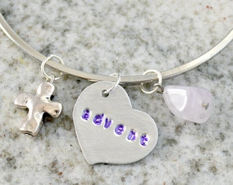 Hand Stamped Charm Necklace: Advent