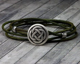 Celtic Knot Leather Bracelet - Handmade Leather Wrap Bracelet - Unisex Leather Bracelet - Mens Leather Bracelet - Womens Leather Bracelet