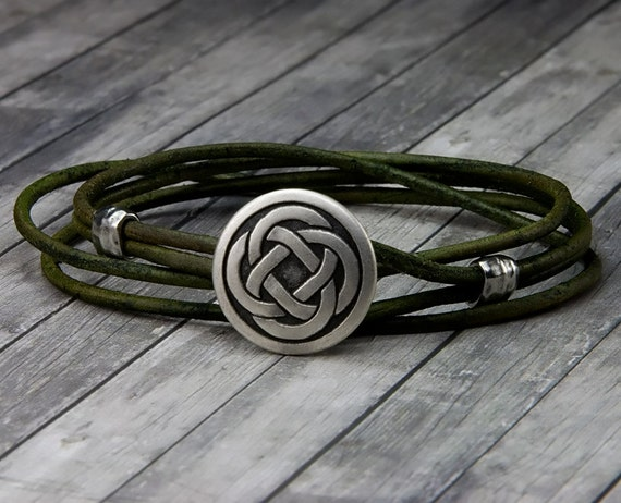 celtic knot leather bracelet handmade leather wrap bracelet. Black Bedroom Furniture Sets. Home Design Ideas