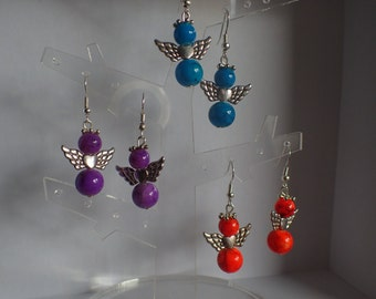 colorful angels, celestial buckles, buckles violet, Orange curls earrings
