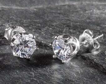 9 Colours | Sterling Silver Stud Earrings Genuine Zirconia 6mm Cubic Zirconia