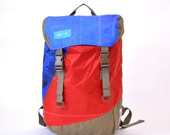 Discover Pack -Reuse Recycle Sails Blue Red Urban Backpack, Desing Stilish, Outdoors, Water resistant, Made in USA, Unique, One of a Kind