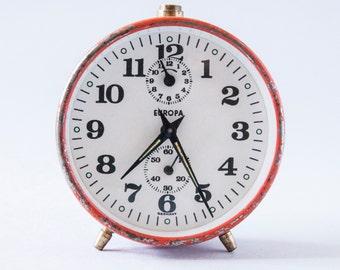 red retro vintage alarm clock Europa 60s