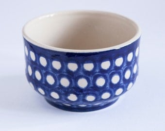 Lovely Bowl in Blue With White Dots Swiss Bunzlauer Design Dotted Decor Ceramic Polish Pottery