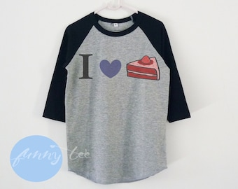 I love cake tshirt toddlers children raglan shirt+Funny Quotes +Baseball tee +Kids shirts
