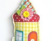 FABRIC House Hanging Decoration / Home Sweet Home / Door Hanger / HouseWarming Gift / Shelf Sitter / New Home Gift / Yellow fabric House