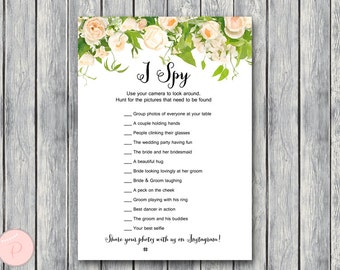 I Spy Wedding Scavenger Game, Wedding Game Printable, Wedding Scavenger Printable, Printable Game TH01