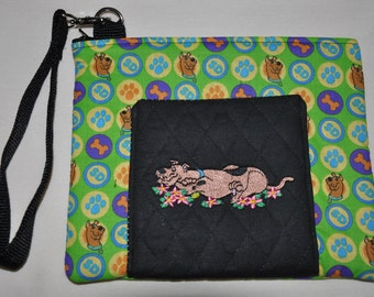 New!  Scooby Doo Fabric - Embroidered - Quilted Wristlet - Cell Phone Case - Coin Purse