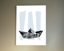 Paper Boat Print Nursery Decor A4 Poster Origami Blue and Grey Nautical Baby