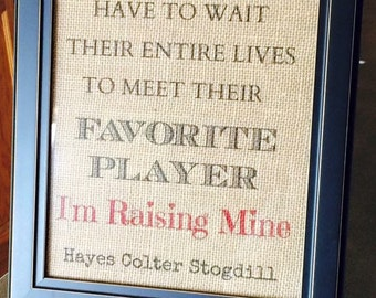 Personalized Favorite Player Burlap Print (PRINT ONLY)