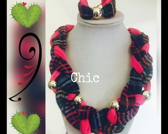 Frida necklace Inspiration black & pink