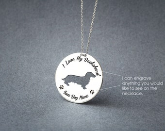 Personalised Disk DACHSHUND LONGHAIRED Necklace / Circle dog breed Necklace / Doxie Longhair necklace/ Silver, Gold Plated or Rose Plated.