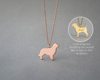 14K Solid GOLD Tiny GOLDEN RETRIEVER Name Necklace - Golden Retriever Necklace - Dog Necklace - 14K Gold or Rose Plated on 14k Gold Necklace
