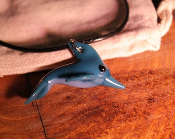 Teal dolphin pendant