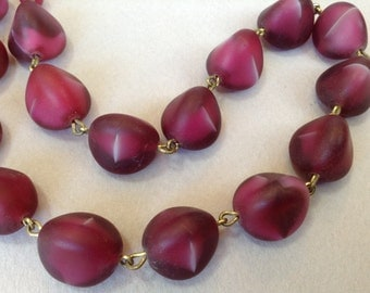 Burgundy Red Czech Glass Beaded Necklace