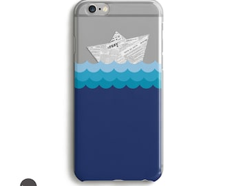 Newspaper Paper Boat, Case for iPhone, Ocean iPhone case, Blue iPhone case, Cell Phone Case, Ocean Waves // iPhone 5, 6, 7 and plus sizes