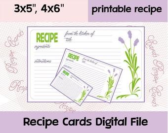 Recipe Card printable, Editable Recipe Cards, Recipe Cards Flower, 4x6 Recipe Cards