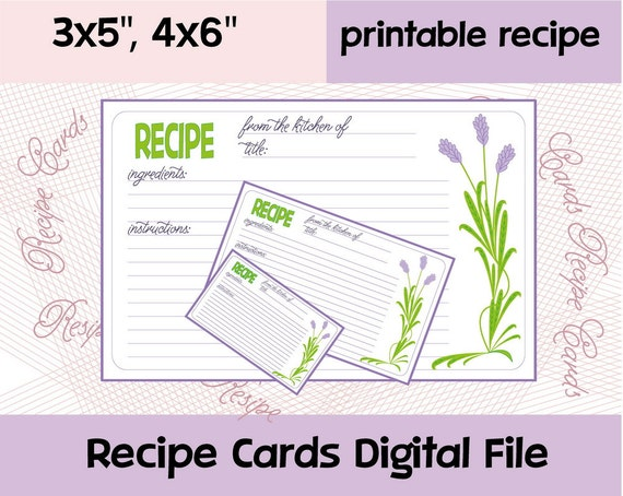 recipe card printable editable recipe cards recipe cards With how to print on 4x6 cards