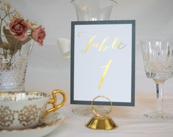 Gold Foil and Black Fancy Script Table Numbers