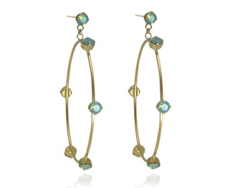 Turquoise Earrings Swarovski Crystal Earrings Dangle Earrings Loop Earrings Everyday Earrings Gold Earrings Swarovski Earrings