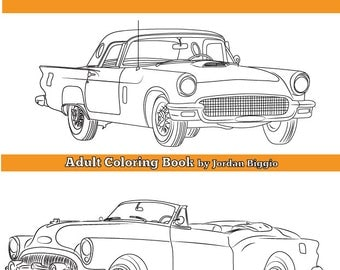 Classic Cars Of The 1950S Adult Coloring Vintage Colouring Book
