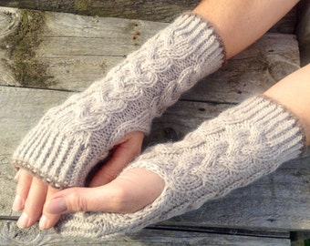 Ladies luxury taupe pure alpaca cable mitten gloves by Willow Luxury ( one size)