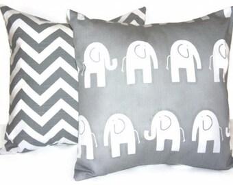 Elephant Pillow Cover Children's Elephant Nursery Children's Pillow Cover Grey Elephant Elephant Pillow Cover Elephant Bedding