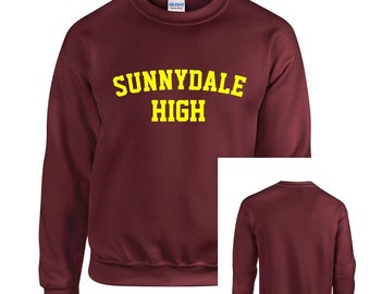 Maroon Sunnydale High School Buffy Style SHS Adult Unisex Crew Neck Sweatshirt With Print on Front Only
