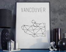 Vancouver art Vancouver map Vancouver print Canada British Colombia map BC British Colombia art Canada map Geometric Scandinavian Minimalist